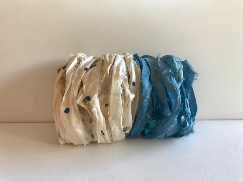 Sari Silk Ribbon  Recycled Sari Silk Ribbon  Cream With Blue image 0