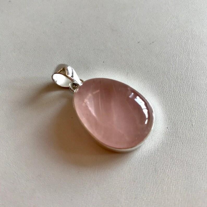Rose Quartz Pendant  Rose Quartz & Silver Pendant  Pink image 0