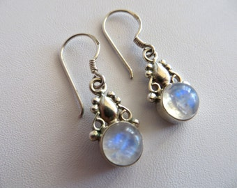 Moonstone Earrings-Moonstone & Silver Drop Earrings