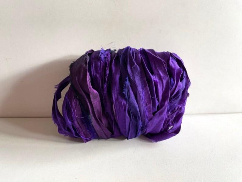 Sari Silk Ribbon  Recycled  Sari Silk Ribbon  Purple Mix 10 image 0