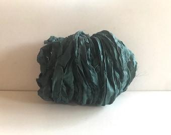 Silk Sari Ribbon - Recycled Sari Silk Ribbon - Pine Green, 10 Yards Journaling Ribbon