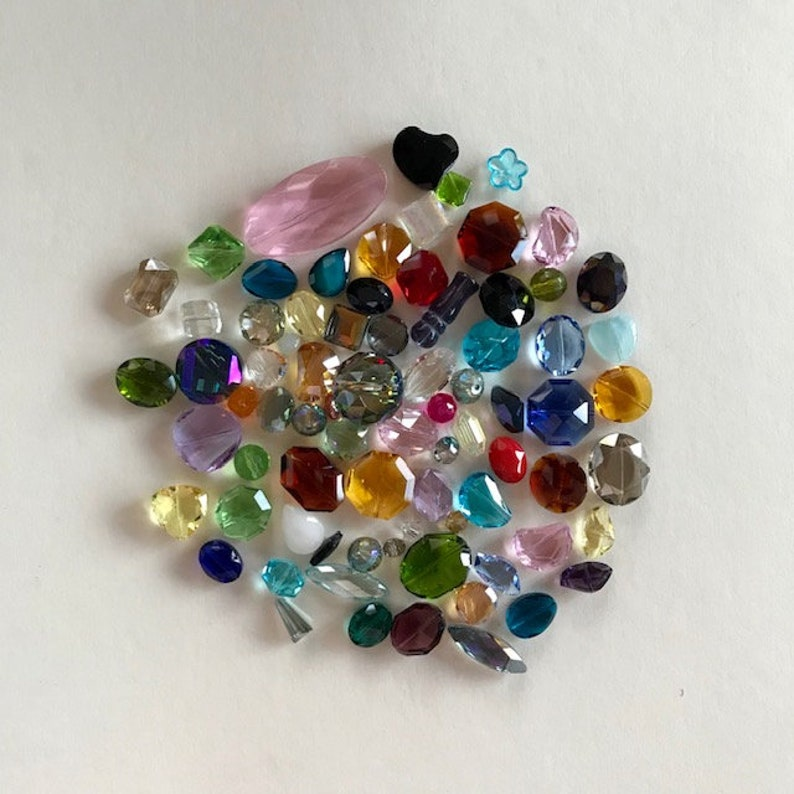 Multi Colored Faceted Glass Crystal Beads  Large Glass image 0