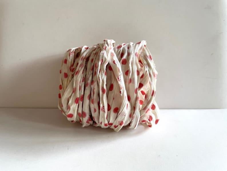 Recycled Sari Silk Ribbon  Sari Silk Ribbon Yardage  Cream image 1