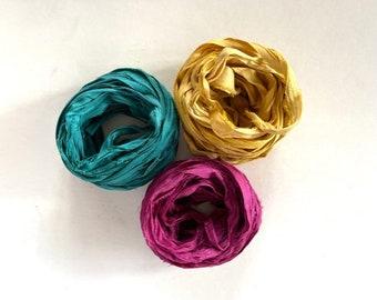 Sari Silk Ribbon - Recycled Sari Silk Ribbon - Teal, Goldenrod, Magenta -  5 Yds Each, 15 Yds Total