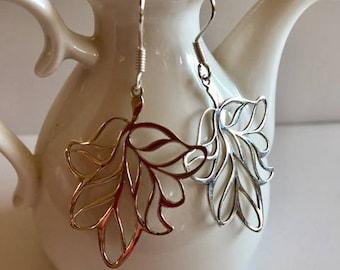 Sterling Silver Earrings-Long Silver Leaf Earrings
