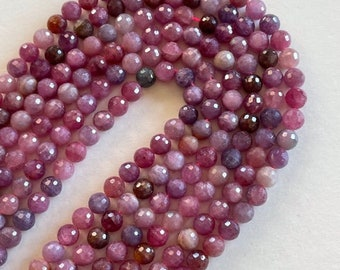Natural Ruby Bead Strand - Precious Gemstone 6mm Ruby Beads - Beading Supplies