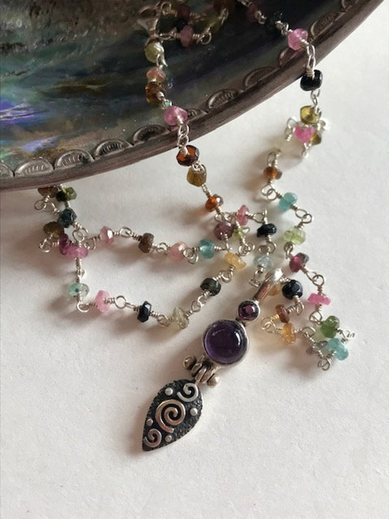 Tourmaline Rosary Chain Necklace  Amethyst Pendant Necklace  image 0
