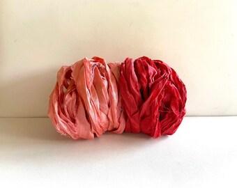 Recycled Sari Silk Ribbon - Sari Silk Ribbon - Peach & Brick, 5 Yds Each Color, 10 Yds Total