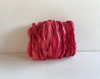 Silk Sari Ribbon - Recycled Sari Silk Ribbon - Brick (Almost Red), 10 Yds, Journaling Ribbon