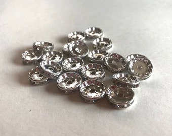 Crystal Rondelle Spacers - (20) 12mm Spacer Beads - Silver Jewelry Findings
