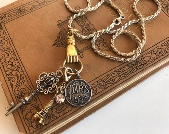 Gold & Sterling Charm Necklace - Paris Charm Necklace - French Charms