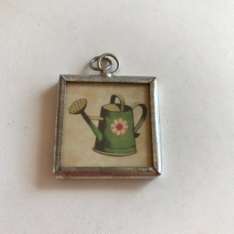 Soldered Glass 2-Sided Pendant  Watering Can Garden Pendant  image 0