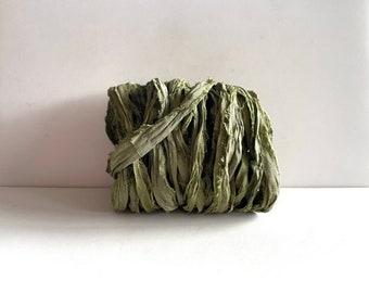 Sari Silk Ribbon - Recycled Sari Silk Ribbon - Olive Green, 10 Yards