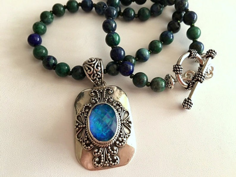 Chrysocolla Beaded Necklace  Mystic Topaz Pendant Necklace  image 0