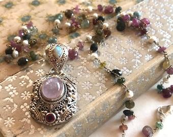 Tourmaline Rosary Chain Necklace - Morganite & Opal Pendant Necklace - Tourmaline Necklace