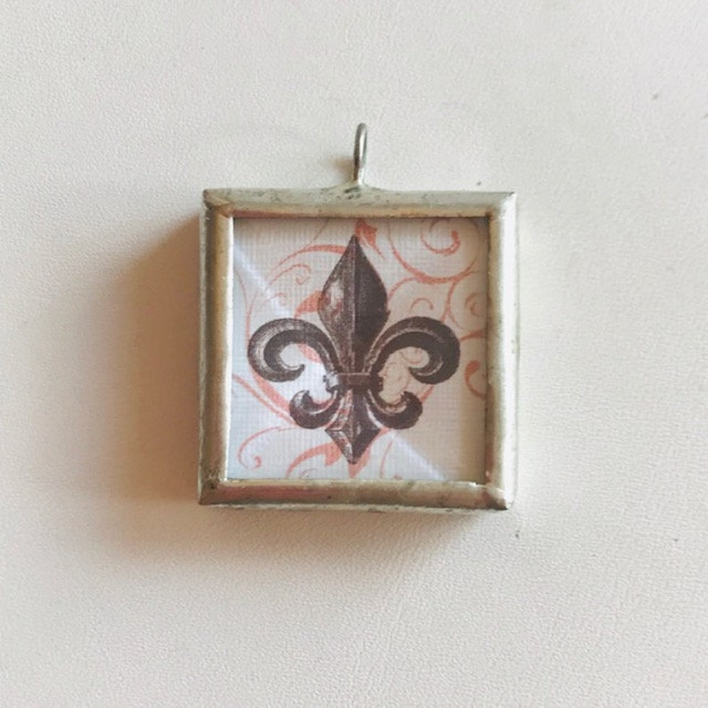 Soldered Glass 2-Sided Pendant  Fleur de Lis & Eiffel Tower image 0