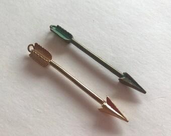 Arrow Pendants - Two Pewter Arrows - Large Arrow Charms