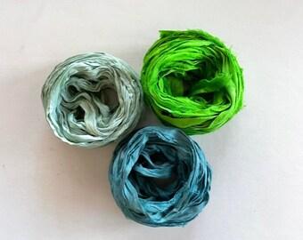 Recycled Sari Silk Ribbon - Sari Silk Ribbon Yardage - Seafoam, Lime & Ocean 5 Yds Each, 15 Yds Total