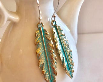 Feather Earrings With Green Patina