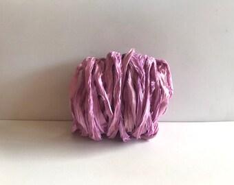Recycled Sari Silk - Sari Silk Ribbon Yardage - Iris Sari Ribbon - 10 Yds Mixed Media Ribbon