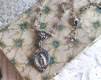 Catholic Pendant Necklace With Rosary Chain - Our Lady of Laleche - Pink Sapphire Rosary Chain Necklace