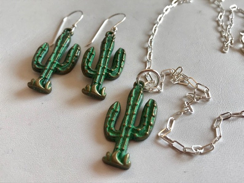 Saguaro Cactus Set  Cactus Necklace & Earring Set  Southwest image 0