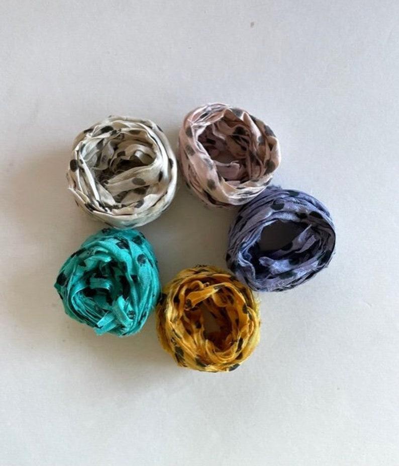 10 Yds Polka Dot Sari Silk Ribbon  Recycled Sari Ribbon image 1