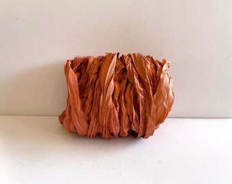 Recycled Sari Silk Ribbon - Sari Silk Ribbon - Rust Sari Ribbon, 10 Yards Weaving Ribbon