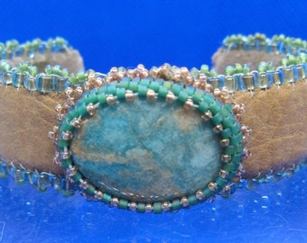 Beaded Amazonite and Leather Cuff Bracelet
