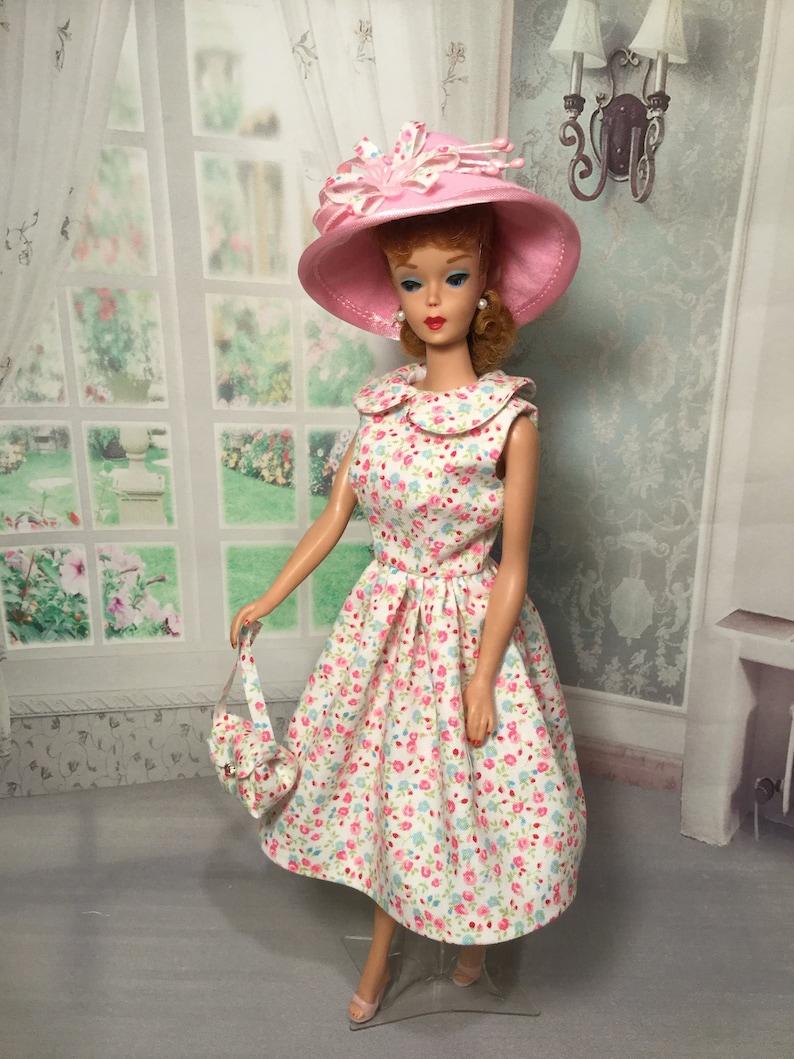 769d8799f65 Vintage Barbie Doll Fashion OOAK Paris in the Spring Dress Fashion Hat bag