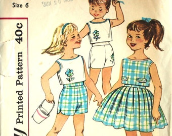 UNCUT Girl's Top, Shorts and Full Skirt Size 6 Simplicity 3496