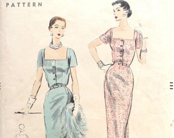 1953 Dress with Square Front Neckline Bust 30 Vogue 7951 Vintage Sewing Pattern