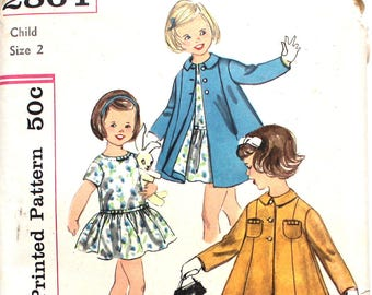UNCUT Girl's One Piece Dress and Coat Size 2 Simplicity 2864 Vintage Sewing Pattern