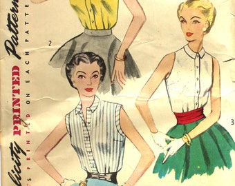 Simple to Make Sleeveless Blouse Bust 32 Simplicity 4238 Vintage Sewing Pattern