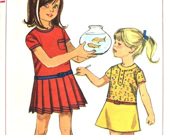 Girl's Dress with Dropped Waist and Pleated Skirt Size 2 Simplicity 6951 Vintage Sewing Pattern