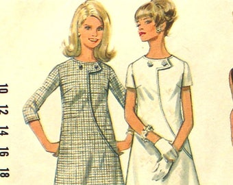 A Line Dress with Curved Seam Interest Bust 34 Size 12 Butterick 4818 Vintage Sewing Pattern