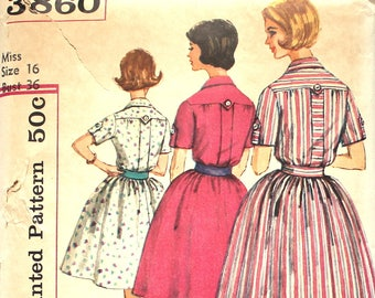 UNCUT Shirtdress Bust 36 Simplicity 3860 Vintage Sewing Pattern Size 16