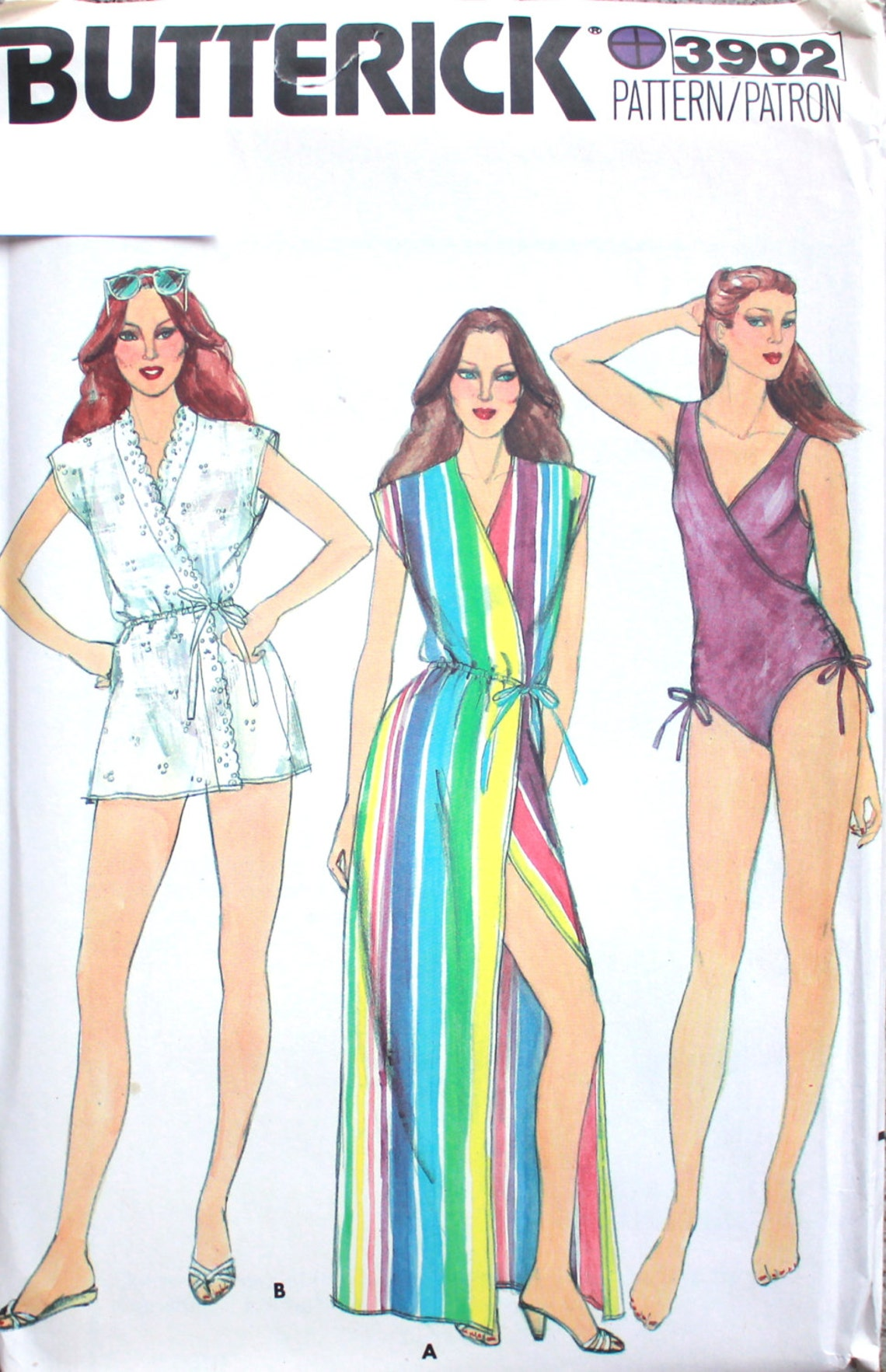 Early 1980s one-piece bathing suit and coverup pattern Butterick 3902