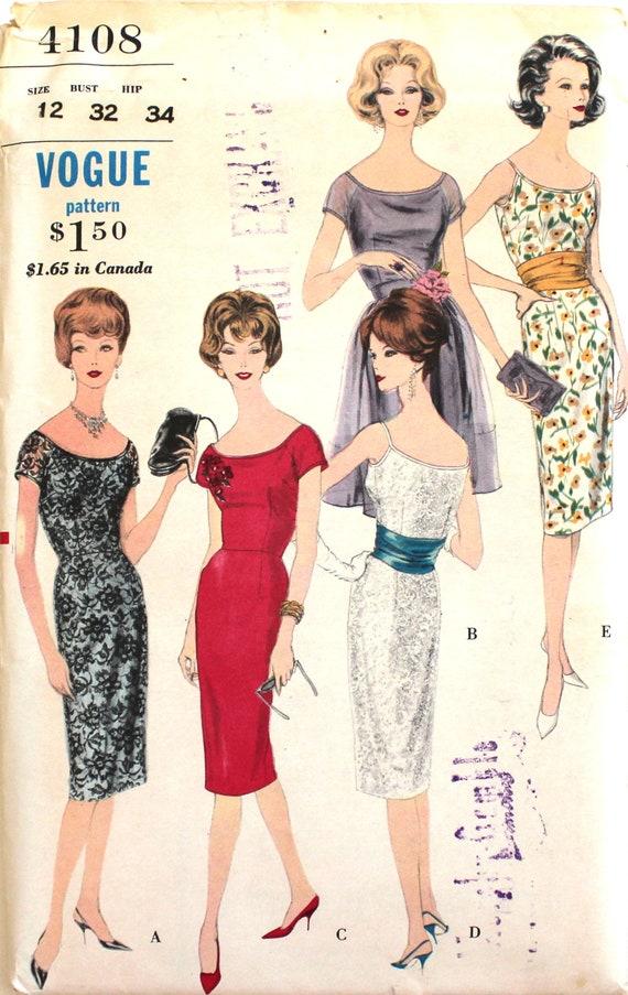 non-coupe robe drapée & tablier buste 32 Vogue 4108 Vintage patron de  couture