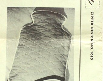 1950's Quilted Hot Water Bottle Cozy Sewing Pattern Talon 1015