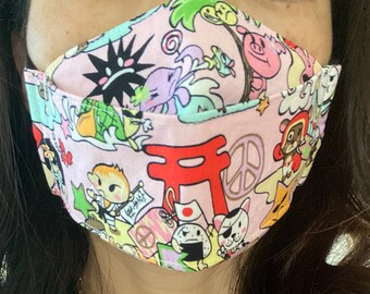 Made to Order 3D Origami Face Mask Japanese Theme Harajuku, Washable, Reusable, Double Lined, Adjustable Soft Ear Loops