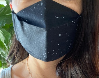 Made to Order 3D Origami Face Mask Shooting Stars, Washable, Double Lined, Adjustable Soft Ear Loops