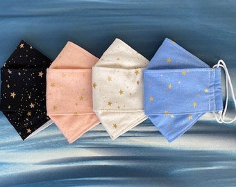 Kids and Adult 3D Origami Cotton Face Masks, Gold Metallic Stars, Washable, Reusable, Double Lined, Adjustable Soft Ear Loops