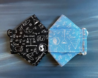 Made to Order 3D Origami Face Mask NASA Math and Science in Black or Blue, Washable, Cotton, Double Lined, Adjustable Soft Ear Loops