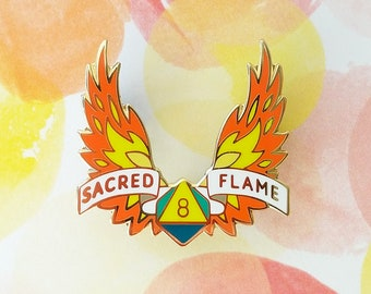 Sacred Flame Dungeons and Dragons Pin, Cleric Dnd Enamel Pin, d8 Pin, Tabletop RPG pin, Dungeon Master Gift, D&D pin, Dnd Dice pin