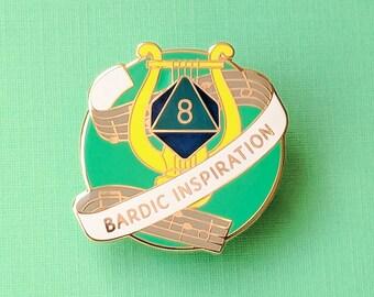 Bardic Inspiration Dungeons and Dragons Pin, Bard Dnd Enamel Pin, d20 Pin, Tabletop RPG pin, Dungeon Master Gift, D&D pin, Dnd Dice pin