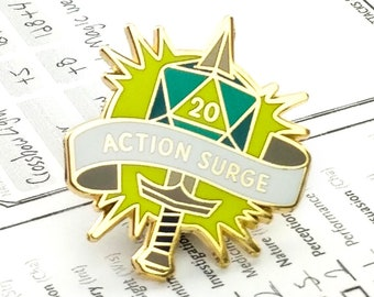 Action Surge Dungeons and Dragons Pin, Fighter pin, Dnd Enamel Pin, d20 Pin, Tabletop RPG pin, Dungeon Master Gift, D&D pin, Dnd Dice pin