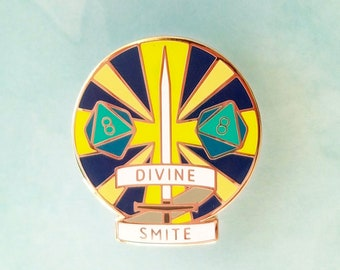 Divine Smite Dungeons and Dragons Pin, Paladin Dnd Enamel Pin, d20 Pin, Tabletop RPG pin, Dungeon Master Gift, D&D pin, Dnd Dice pin