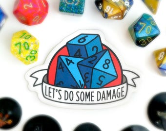Dungeons and Dragons sticker, tabletop gaming sticker, geeky sticker, nerdy sticker, roleplaying game sticker, dice sticker, gaming sticker