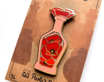 Red Poppy Potion Enamel Pin, Dungeons and Dragons Enamel Pin, DnD Alchemist Pin